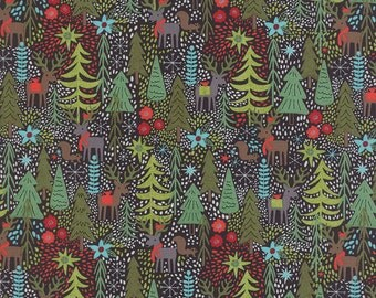 Cotton Quilt Fabric by the yard, Juniper Berry Reindeer Games in Black by Basic Grey for Moda Fabrics, Christmas Holiday Fabric, 30430 16