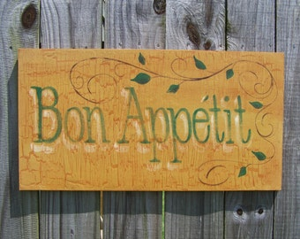 Rustic Kitchen Sign, Bon Appetit Sign, French Kitchen Decor, Country Kitchen,  Country
