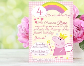 Customizable - Peppa Pig princess pink invitation, printable - Model #056