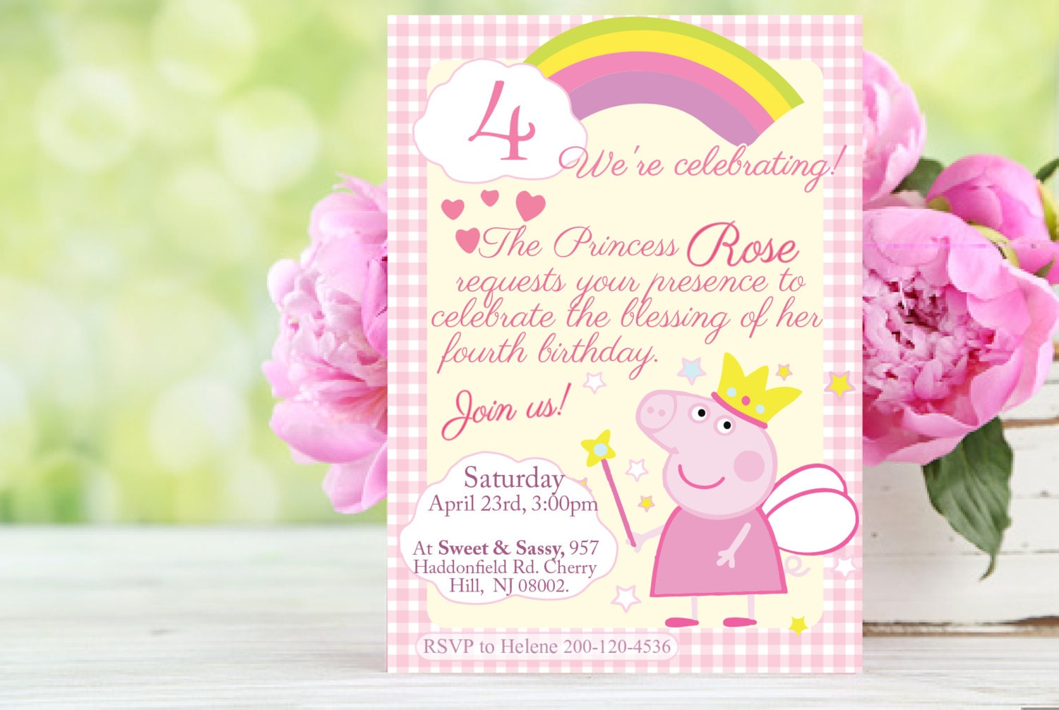 Peppa Pig princess pink invitation printable Customizable