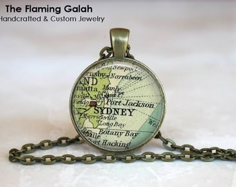 Vintage Sydney Map Pendant. Australia. Key Ring. Map Necklace. Silver/Bronze Pendant. Gift Under 20. Handmade in Australia (P0502)