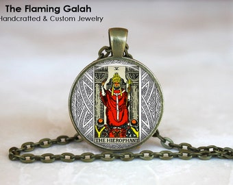 THE HIEROPHANT Pendant • Tarot Card • Major Arcana • Occult • Fortune Teller • Mystic • Gift Under 20 • Made in Australia (P0855)
