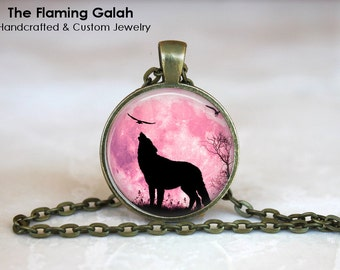 HOWLING WOLF in the Pink MOONLIGHT Pendant •  Wolf Silhouette • Gift Under 20 • Made in Australia (P1118)
