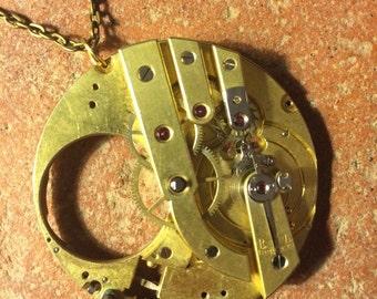 Handmade pocket watch steampunk necklace