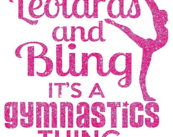 Leotards and Bling Gymnastics Iron On Decal