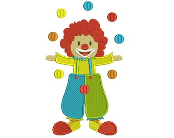 Circus Clown Juggling Balls Filled Machine Embroidery Digitized Design Pattern  - 4x4 , 5x7, 6x10 -hoops