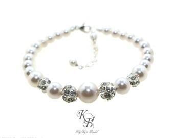 Pearl and Rhinestone Bracelet, Pearl Bracelet, Bridal Bracelet, Wedding Jewelry, Bridal Jewelry, Pearl Bridal Jewelry, Bride Bracelet
