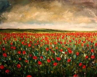Poppy Field Original Framed Oil Painting 50cm x 40cm