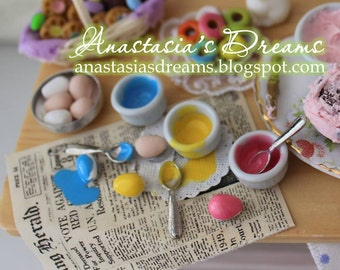 Dollhouse Miniature Dying Easter Eggs - 1/12 scale