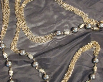 """Vintage gold toned chain necklace.  27"""" gold costume jewelry"""