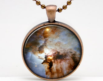 Lagoon Nebula, Space, Telescope  Art  Glass Pendant or Key Chain- 30 mm round- Chain Included- Made to Order