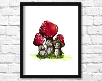 Amanita Muscaria Watercolor Painting Print