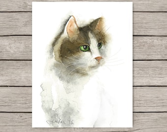 Cat Watercolor Print, Brown and white cat portrait