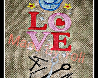 Embroidery Design Digitized Peace Love Style