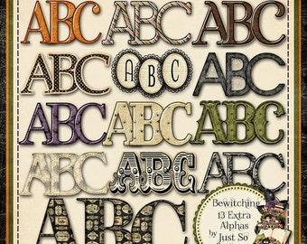 On Sale 50% Off Alphabets - Bewitching Halloween Alphabets Digital Scrapbooking Kit