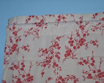 Handmade Gray White Red  Cherry Blossom Flowers leaves Window  CURTAIN VALANCE