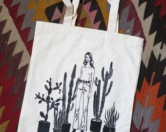 Cactus Girl organic tote bag