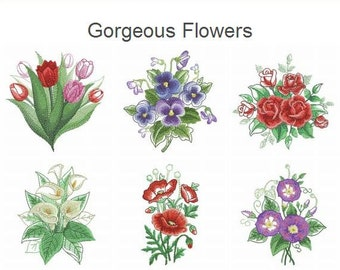 Gorgeous Flowers Machine Embroidery Designs Instant Download 4x4 5x5 hoop 10 designs APE2245
