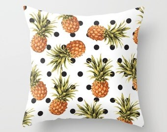 Pineapple Pillow Cover Pineapple Cushion Cover Pineapple and Polkadot Pillow Cover Modern Decor Tropical Pillow Cover 18x18 or 20x14