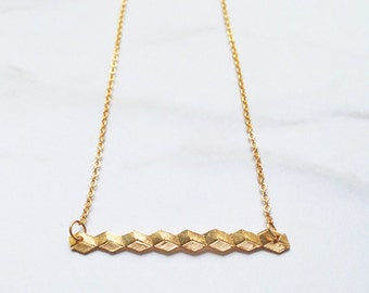 Geometric Line Necklace handmade and gold filled // short necklace