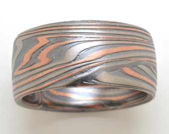 Bold End-Grain Mokume Gane Ring In Palladium, 14kt Red Gold and Oxidized Silver with Etched finish