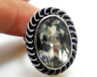 Natural Green amethyst stone 925 Sterling Silver Overlay Ring, partywear ring, Oval shape ring , gemstone ring