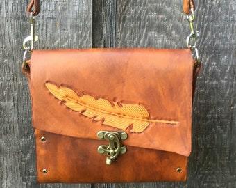 Leather satchel or cross body bag