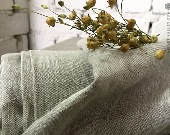 Softened oatmeal natural unbleached linen fabric - Taupe flax color linen for clothing, bedding