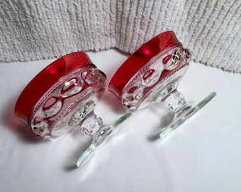 Tiffin Franciscan Ruby Red  Kings Crown Champagne Sherbets Thumbprint Set of 2