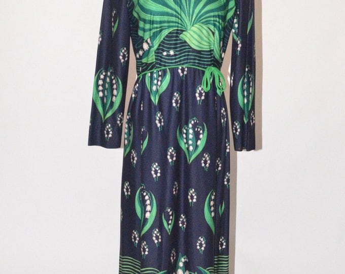 Vintage Estate Leslie Fay Lord and Taylor Navy Blue Green White Floral Maxi Hostess Dress