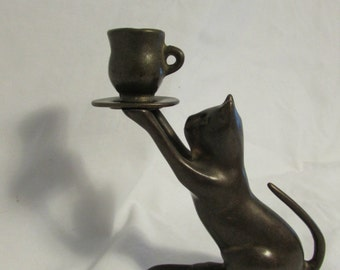 CAndle-holder, Cat, Brass, 1980's