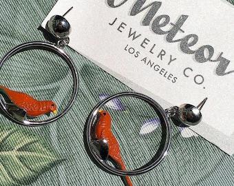 Retro Novelty Parrot Bird Hoop Earrings, Parrots on Parade, Jewelry Gift