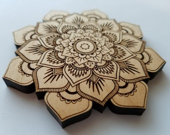 Laser Cut Alder Wood Mandala Lotus Flower Home Decor Coaster ( Wall Decor, Accent Piece)