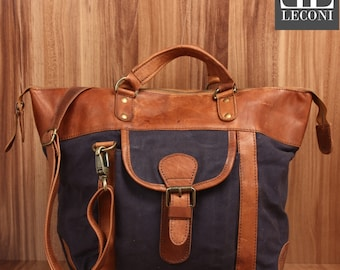 LECONI-LAN bag shoulder bag lady bag natural leather bag of canvas leather navy LE0043-C
