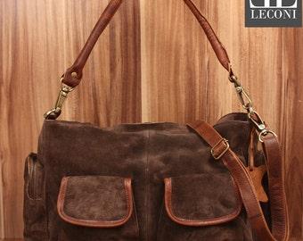 LECONI shoulder bag Tote purse bag suede leather dark brown LE0047-VL