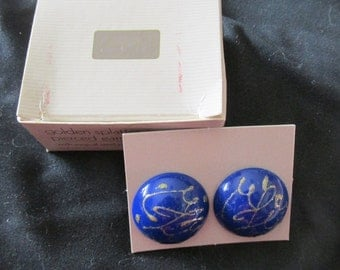 Avon Golden Splatter Pierced Earrings 1986 Cobalt Blue