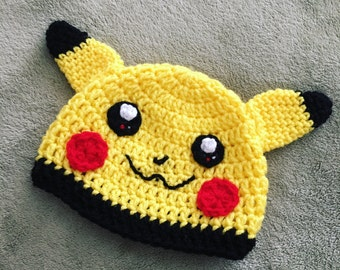 Pokemon inspired Pikachu beanie - crochet