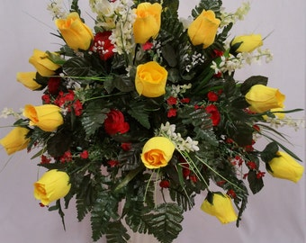 Cemetery Vase Two Dozen Yellow Rose Buds, Red Camellias, Cream Bellflowers, Small Red Flowers