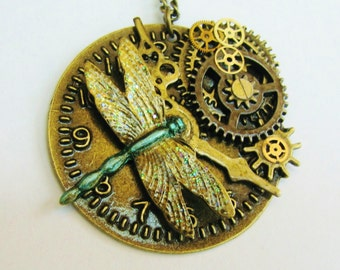 Steampunk Dragonfly Watch Dial Gear Pendant Necklace PN21
