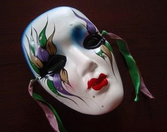 Colorful Decorative Mardi Gras Clay Ceramic Art Wall Face Mask Unsigned Collectible Memorabilia Souvenir a2005