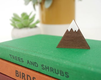 Mountain brooch - laser cut wood and acrylic badge