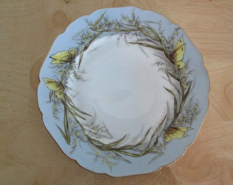 Stunning Antique French Haviland Limoges Hand Painted Porcelain Plate Butterfly Design