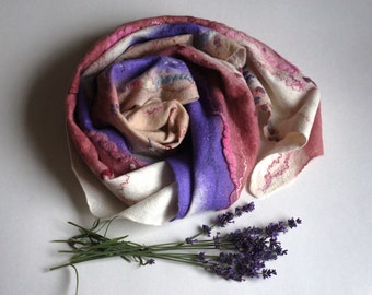 """Merino wool scarf for women """"Lavender"""". Handmade felt  shawl for women. Natural silk and wool. For her."""