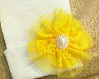 New! Newborn Hospital Hat with Handmade Bright Yellow Tulle / Lace Flower and Topped off with Pearl. Hospital Beanie. Baby Girl White Beanie