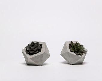 frauklarer icosahedron concrete planter, concrete pot, handmade cachepot, cement pot, minimalistic planter