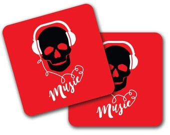 Set of 4 Skull Headphones Design Coasters (CO762)