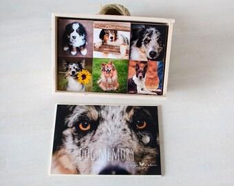 Handmade photo wooden memory game | Matching pairs - dogs