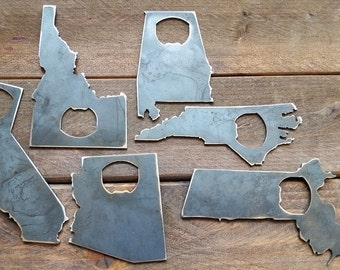 STATE BOTTLE Opener Rustic Steel Recycled Industrial Travel Gift, wedding favor, Party gift, beer opener