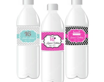 Personalized Sweet 16 or 15 Water Bottle Labels, (Set of 24)
