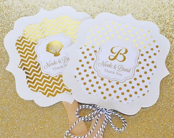 Personalized Metallic Foil Paddle Fans - Wedding (Set of 24)